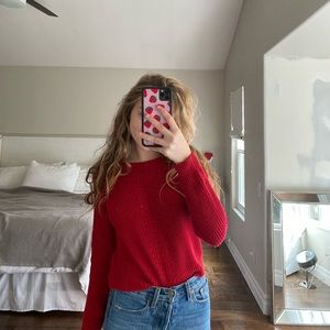 forever 21 red knit sweater size small